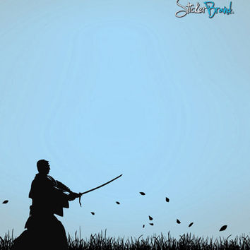 Vinyl Wall Decal Sticker Japanese Ronin Samurai Swordsman in Field #525