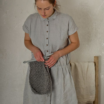LINEN SHIRT DRESS. grey