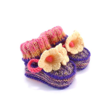 Baby Booties Hand Knitted with Crochet Yellow Bell Flowers, 0 - 3 months