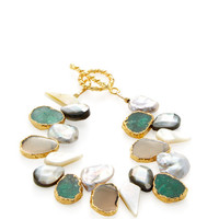 Pearl & Lapis Cluster Station Bracelet by Alanna Bess Jewelry at Gilt