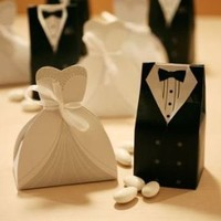 Bride and Groom Dress Favor Boxes