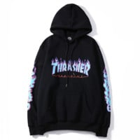 Thrasher new fashion bust flame letter print and sleeve flame print couple loose casual personality long sleeve top sweater Black