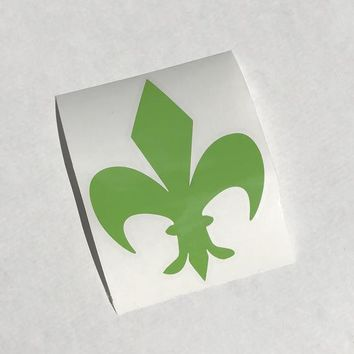 Green Fleur de Lis Vinyl Decal on Clear Transfer Paper - Easily apply to your car, laptop, tumbler, etc. - NOLA. Made - Free Shipping!