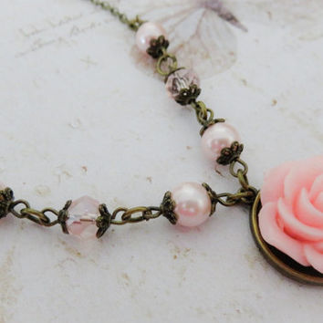Pink bridesmaid necklace, flower necklace, rustic wedding jewelry, pink pearl and crystal jewelry, bridal party gift, bronze jewelry