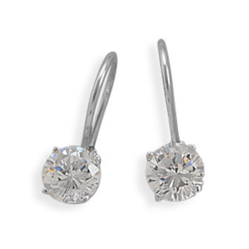 Rhodium Plated Lever Back Cubic Zirconia Earrings
