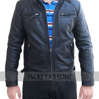 Men's New Style Motorbikers David Beckham Leather Jacket - All Sizes