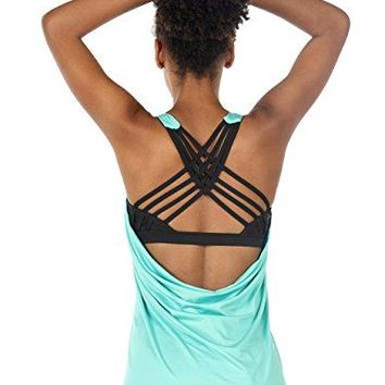 Stylish Yoga Tops Workouts Clothes Activewear Built in Bra Tank Tops for Women