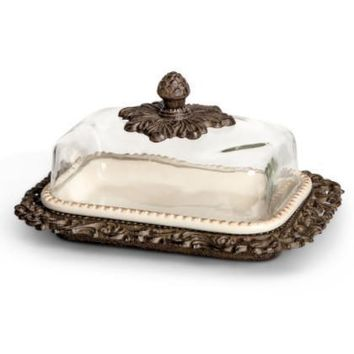 "GG Collection 9""L, Glass Dome Butter Dish"