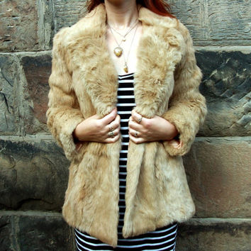 Vintage Fur Coat Rabbit Fur Jacket Real Coney Honey Blonde Fawn Beige Brown Collar Pockets