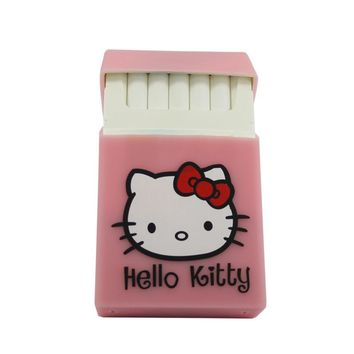 Hello kitty black silicone rubber cigarette case cover smoking romantic pink Hellokitty soft cigarette box girls gift