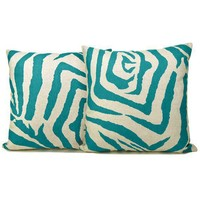 Modern Large Teal Zebra Print on Natural Linen by ClassicByNature