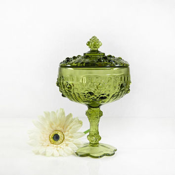 Fenton Pedestal Bowl With Cover With Lid - Rose Pattern - Colonial Green - Excellent