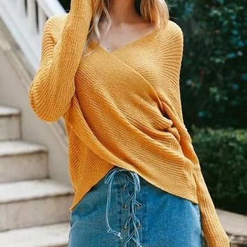 Yellow Cross Wrap Front Knit Sweater