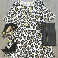 Animal Instincts Leopard Print Tunic Dress