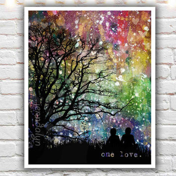 One Love - fine art print, mixed media painting print, rainbow art, gay pride, lgbt pride, gay art, love quotes, silhouette illustration