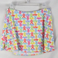 Fresh Produce Skirt 8 M size Multi Colored Fish Stretch Knit Mini Vacation Sport