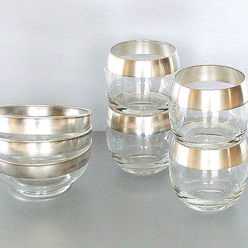 Dorothy Thorpe Glassware Vintage Cocktail Set 4 Roly Poly Glasses 3 Bowls