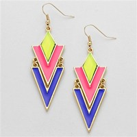 HauteChicWebstore GEOMETRIC COLORFUL ENAMELED CHEVRON WOMEN'S EARRINGS at www.shophcw.com