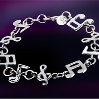 Copper-nickel Alloy Music Note Decorated Bracelet