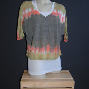 Oversized, Cropped, V-Neck T Shirt  Tie Dye in Palamino Gold, Coral Pink, Chocolate Brown in Horizontal Linear Pattern