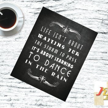 best friend gift, chalkboard art, typographic quote print, rustic home decor, life inspirational poster art print, life isn't about waiting