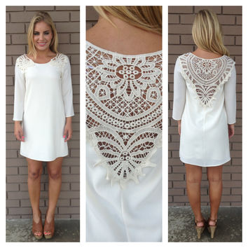 Ivory Libby Crochet Shift Dress