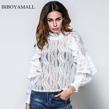 ESBONHS BIBOYAMALL Women Blouses 2017 New Lace Ruffles Butterfly Long Sleeve Blouse Women's Tops Clothing Fammer Sexy Perspective Shirts