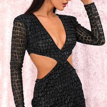 Don't Stop The Music Black Sheer Mesh Glitter Geometric Pattern Long Sleeve Plunge V Neck Cut Out Sides Open Back Bodycon Mini Dress