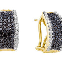 Black Diamond Fashion Earrings in 14k Gold 1.5 ctw