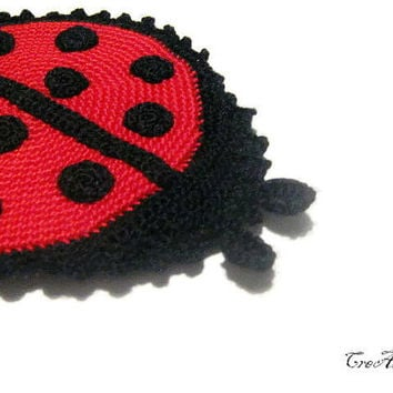 Ladybug Potholder Crochet Red and Black, Handmade Potholder, Presina Coccinella (Cod. 32)