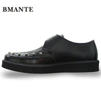 Real leather Men Famous brand gold silver Male Thick sole chaussure Flatform Creepers Elevator with Harajuku platform shoe men