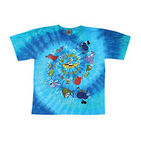 Beatles Men's  Yellow Submarine Spiral Tie Dye T-shirt Multi
