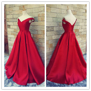 2016 Simple Dark Red Prom Dresses V Neck Off The Shoulder Ruched Satin Backless Corset Evening Gowns Formal Dresses Real Image