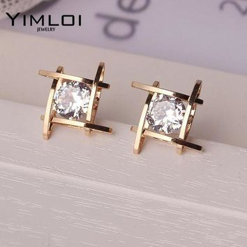 ac spbest Elegant and Charming Black Rhinestone Full Crystals Square Stud Earrings for Women Girls Statement Piercing Jewelry E297