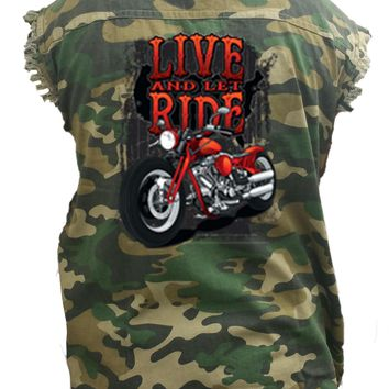 Men's Camo Sleeveless Denim Shirt Live And Let Ride Motorcycle Denim Vest