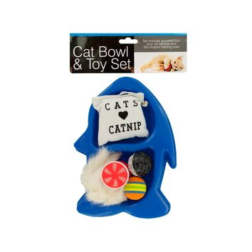 Fish-Shaped Cat Bowl & Toy Set Case Pack 4