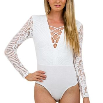 White Lace-up Long Sleeve Bodysuit