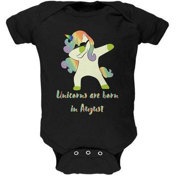 PEAPGQ9 August Birthday Dabbing Unicorn Sunglasses Soft Baby One Piece