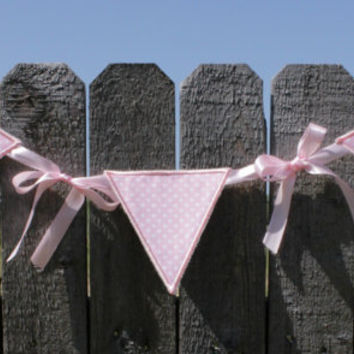 Baby Girls Light Pink Polka Dot Nursery Room Decor Banner - Pennant Flag - High Chair Banner - Photo Prop - Photography