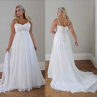 Empire Waist Spring Plus Size Wedding Dress Country Beach Bridal Dress