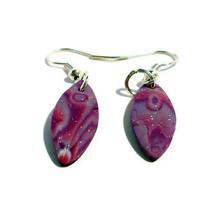 Polymer clay dangle earrings pink, purple and silver mokume - oval shaped