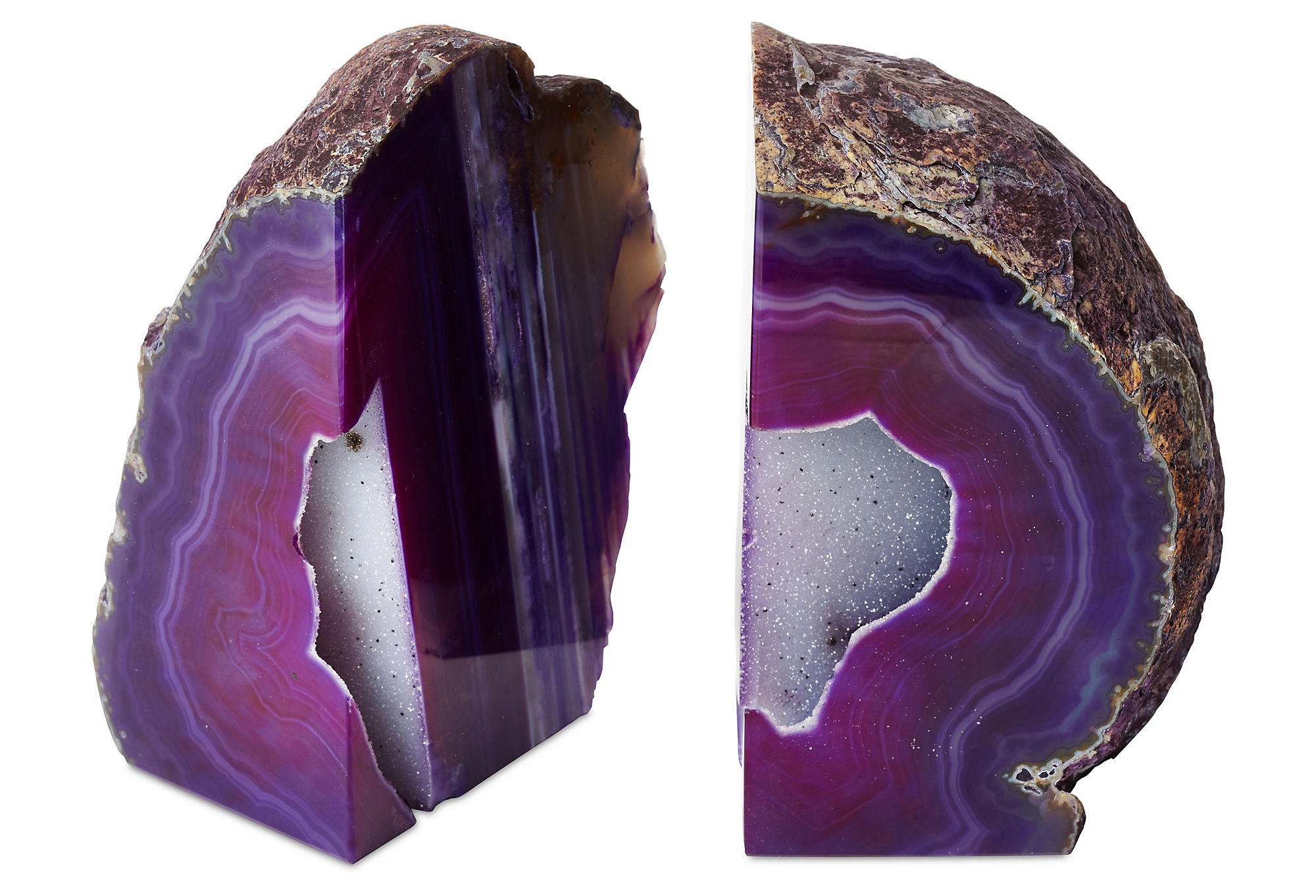 Large geode bookends purple set of 2 from one kings lane - Geode bookends ...