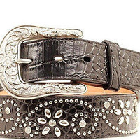 Ariat Women's Western Floral Croc Print Black Leather Belt