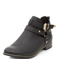 Black Buckle Strap Cut Out Ankle Boots
