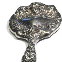 Classic Art Nouveau Sterling Silver Hand Mirror by Bellman Jewelers