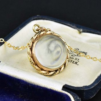 Rose Gold Rock Crystal Locket Pools of Light Pendant 1800s bac83ae35359