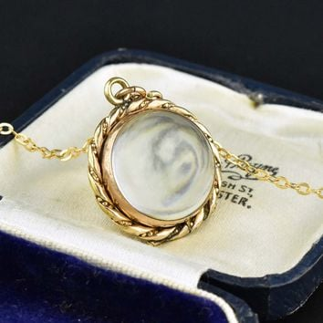 Rose Gold Rock Crystal Locket Pools of Light Pendant 1800s 011cc2efda