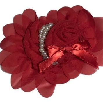 "Red 4.5"" X 4"" chiffon rolled rose with pearl stands"