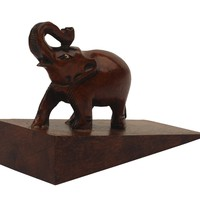 SouvNear Door Stopper - Decorative Trunk Up Elephant Wooden Wedge-Style Door Stop - Home Décor & Accessories - Trunk or Treat!