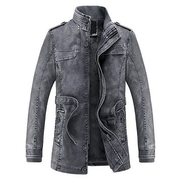Jacket  washed  Leather  Motorcycle  Biker  Jackets